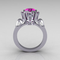 Modern Edwardian 10K White Gold 1.0 Carat Pink White Sapphire Baguette Cocktail Wedding Ring R305-10WGPWS-1