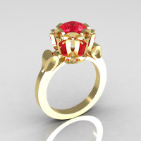 Modern Edwardian 18K Yellow Gold 1.0 Carat Red Ruby Baguette Cluster Wedding Ring R305-18YGRR-1