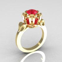 Modern Edwardian 18K Yellow Gold 1.0 Carat Red Ruby Baguette Cluster Wedding Ring R305-18YGRR-1