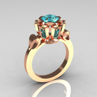 Modern Edwardian 10K Pink Gold 1.0 Carat Aquamarine Baguette Cluster Wedding Ring R305-10PGAQ-1