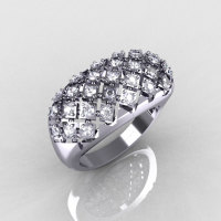 Modern Antique 18K White Gold 0.58 CTW Round Diamond Designer Ring R126-18WGD-1
