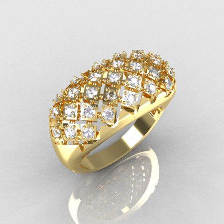 Modern Antique 10K Yellow Gold 0.58 CTW Round Diamond Designer Ring R126-10YGD-1