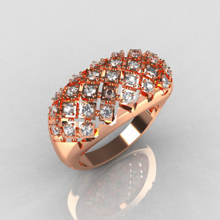 Modern Antique 14K Pink Gold 0.58 CTW Round Diamond Designer Ring R126-14PGD-1