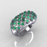 Modern Antique 10K White Gold 0.58 CTW Emerald Designer Ring R126-10WGEM-1