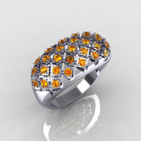 Modern Antique 10K White Gold 0.58 Carat TW Citrine Designer Ring R126-10WGCI-1