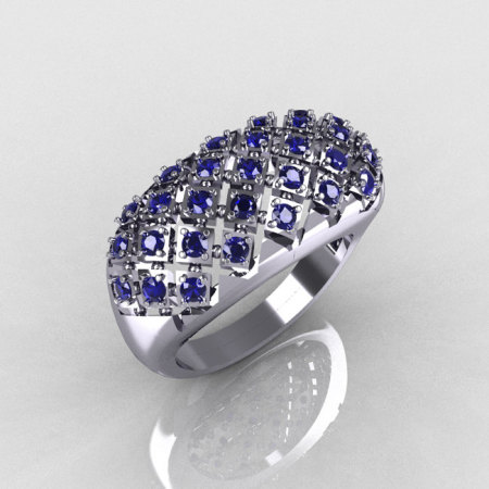 Modern Antique 14K White Gold 0.58 CTW Round Blue Sapphire Designer Ring R126-14WGBS-1