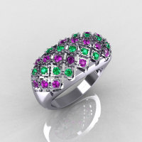 Modern Antique 10K White Gold 0.58 CTW Round Amethyst Emerald Designer Cocktail Ring R126-10WGAMEM-1