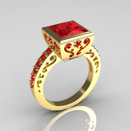Classic Bridal 18K Yellow Gold 2.5 Carat Square Princess Red Ruby Designer Ring R309-18YGRR-1