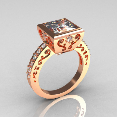 Classic Bridal 14K Pink Gold 2.5 Carat Square Princess White Sapphire Wedding Ring R309-14PGWS-1