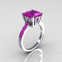 Modern Italian 14K White Gold 2.0 Carat Princess Pink Sapphire Solitaire Ring R312-14KWGPS-1