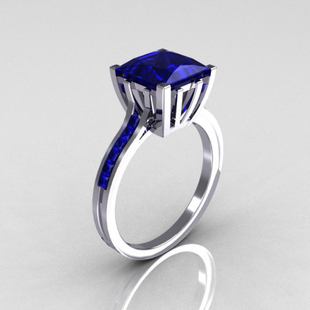Modern Italian 10K White Gold 2.0 Carat Princess Blue Sapphire Solitaire Ring R312-10KWGBS-1