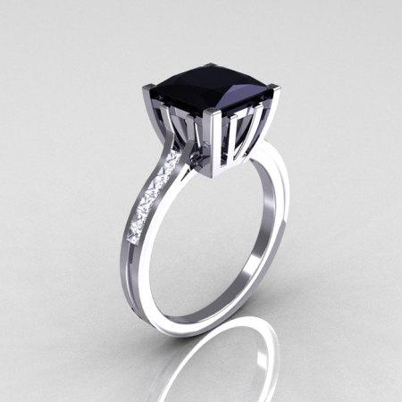 Modern Italian 14K White Gold 2.0 Carat Princess Black Diamond Channel White Diamond Solitaire Ring R312-14KWGBDD-1