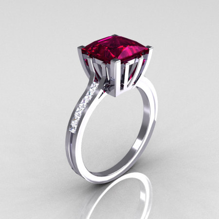 Modern Italian 10K White Gold 2.0 Carat Princess Rhodolite Garnet Channel Diamond Solitaire Ring R312-10KWGRGD-1