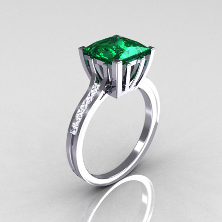 Modern Italian 10K White Gold 2.0 Carat Princess Emerald Channel Diamond Solitaire Ring R312-10KWGEMD-1