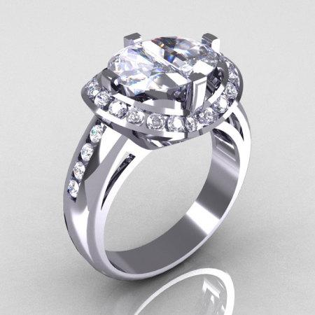 Modern 10K White Gold 1.6 CTW Half Moon White Sapphire Channel Bridal Ring R130-10KWGWS-1