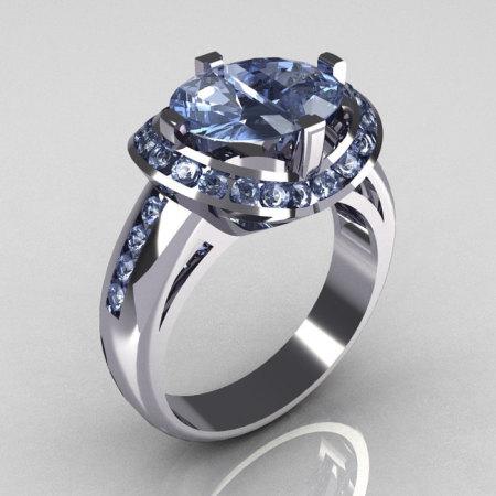 Modern Bridal 14K White Gold 1.6 CTW Half Moon Blue Topaz Channel Bridal Ring R130-14KWGBT-1