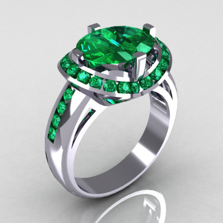 Modern Bridal 18K White Gold 1.6 CTW Half Moon Emerald Pair Channel Bridal Ring R130-18KWGEM-1