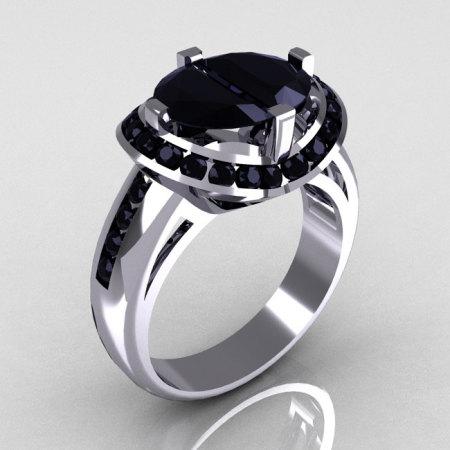 Modern Bridal 10K White Gold 1.6 CTW Half Moon Black Diamond Pair Channel Bridal Ring R130-10KWGBDD-1