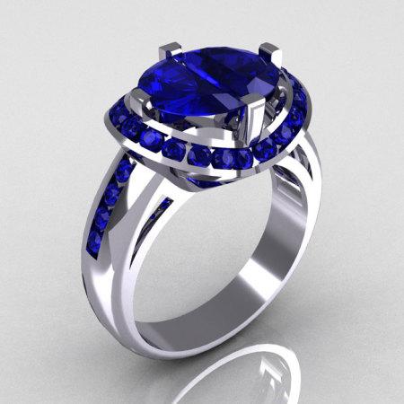 Modern Bridal 14K White Gold 1.6 CTW Half Moon Blue Sapphire Channel Bridal Ring R130-14KWGBSD-1