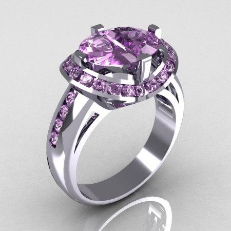 Modern Bridal 18K White Gold 1.6 CTW Half Moon Lilac Amethyst Pair Channel Bridal Ring R130-18KWGLA-1