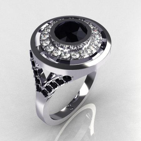 Modern 14K White 1.0 Carat Round Black and White Diamond Engagement Ring R131-14WGDBD-1