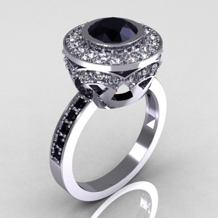 Modern Vintage 14K White Gold 1.0 Carat Black and White Diamond Solitaire Ring R132-14KWGDBD-1
