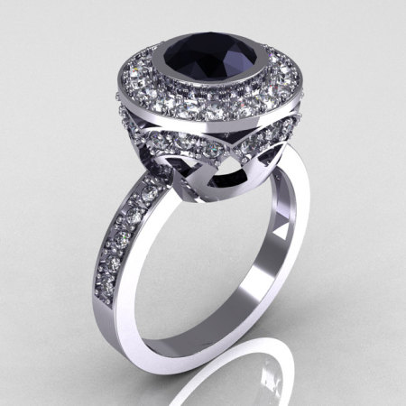 Modern Vintage 18K White Gold 1.0 Carat Black and White Diamond Solitaire Ring R132-18KWGDDBD-1