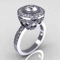 Modern Vintage 14K White Gold 1.0 Carat White Sapphire and White Diamond Solitaire Ring R132-14KWGWSDDD-1