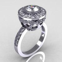 Modern Vintage 14K White Gold 1.0 Carat White Sapphire and White Diamond Solitaire Ring R132-14KWGWSDDD-1