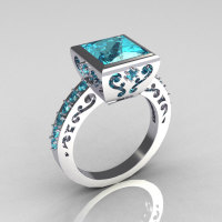 Classic Bridal 14K White Gold 2.5 Carat Square Princess Aquamarine Ring R309-14WGAQ-1