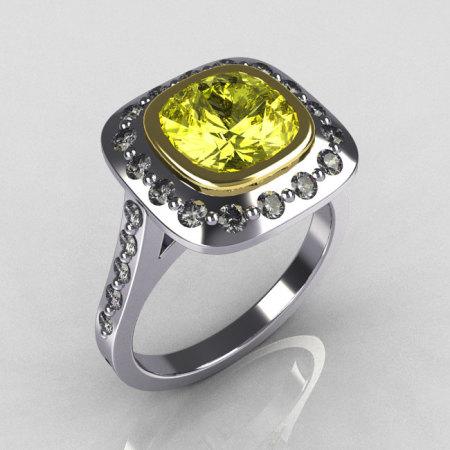 Classic Legacy Style Two Tone 14K White Yellow Gold 2.0 Carat Cushion Cut Yellow Diamond Engagement Ring R60-14KWYGDYD-1