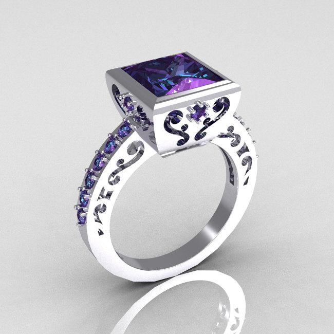 Classic Bridal 14K White Gold 2.5 Carat Square Princess ...