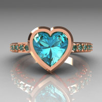 Classic Bridal 14K Pink Gold 2.10 Carat Heart Aquamarine Ring R314-14PGAQ-1