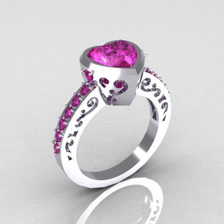 Classic Bridal 14K White Gold 2.10 Carat Heart Pink Sapphire Ring R314-14WGPS-1