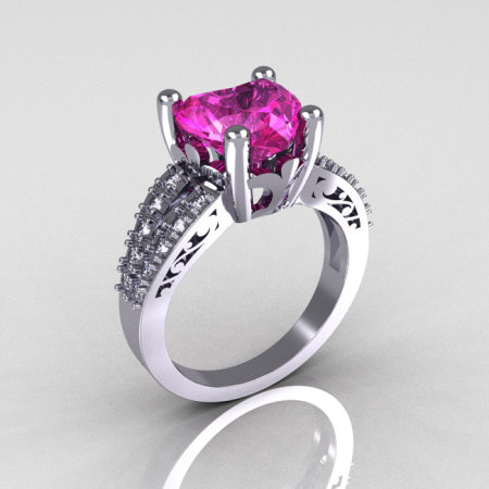 Modern Vintage 18K White Gold 3.0 Carat Heart Pink Sapphire Diamond Solitaire Ring R134-18KWGDPS-1