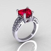 Modern Vintage 10K White Gold 3.0 Carat Heart Red Ruby Diamond Solitaire Ring R134-10KWGDRR-1