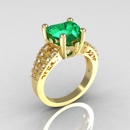 Modern Vintage 14K Yellow Gold 3.0 Carat Heart Emerald Diamond Solitaire Ring R134-14KWGDEM-1