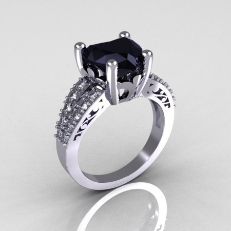 Modern Vintage 18K White Gold 3.0 Carat Heart Black and White Diamond Solitaire Ring R134-18KWGDBD-1
