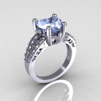 Modern Vintage 10K White Gold 3.0 Carat Heart Blue Topaz Diamond Solitaire Ring R134-10KWGDBT-1