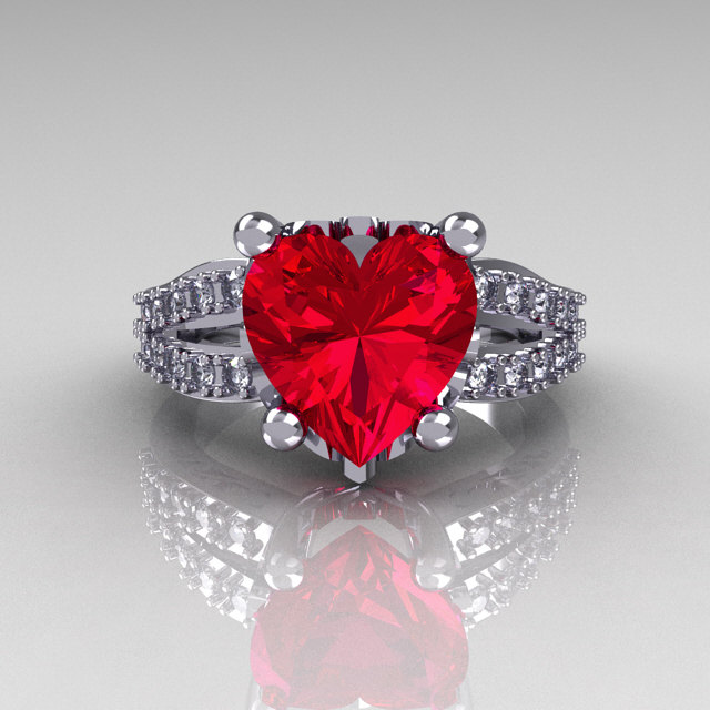 Modern Vintage 10k White Gold 3 0 Carat Heart Red Ruby