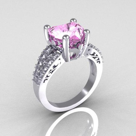 Modern Vintage 14K White Gold 3.0 Carat Heart Light Pink Sapphire Diamond Solitaire Ring R134-14KWGDLPS-1