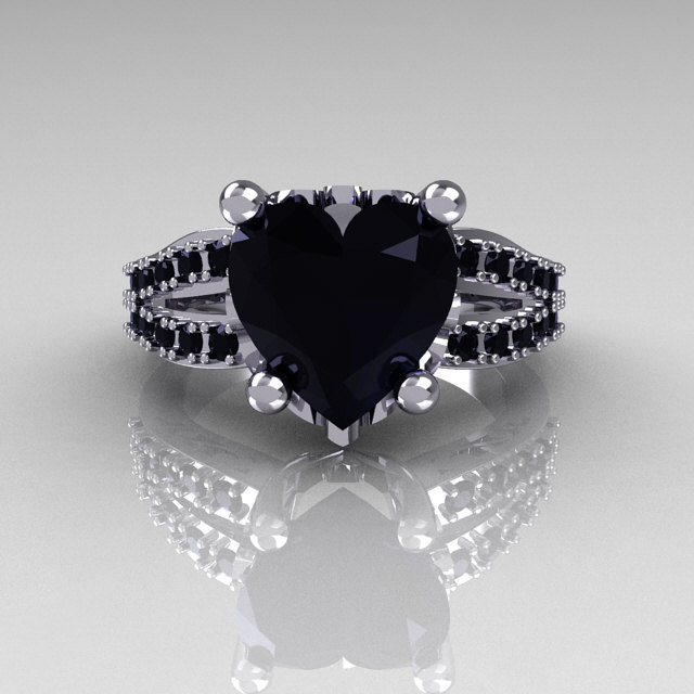 Modern French Bridal 18k White Gold 3 0 Carat Heart Black