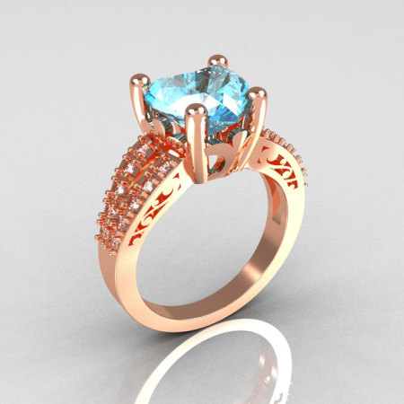 Modern Vintage 14K Pink Gold 3.0 Carat Heart Aquamarine Diamond Solitaire Engagement Ring R134-14KPGDAQ-1