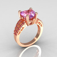 Modern French Bridal 14K Pink Gold 3.0 Carat Heart Lilac Amethyst Solitaire Engagement Ring R134-14KPLAM-1