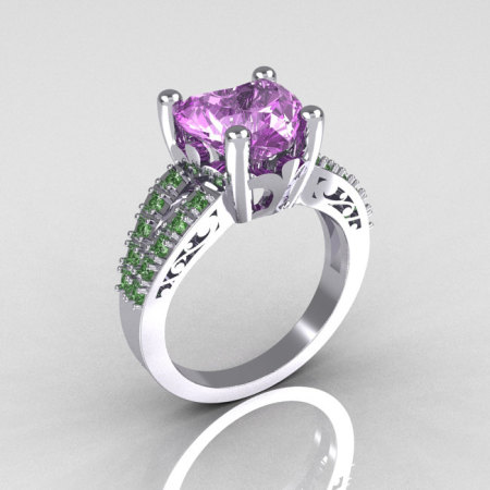 Modern French Bridal 10K White Gold 3.0 Carat Heart Lilac Amethyst Green Sapphire Solitaire Engagement Ring R134-10WGLAMGS-1