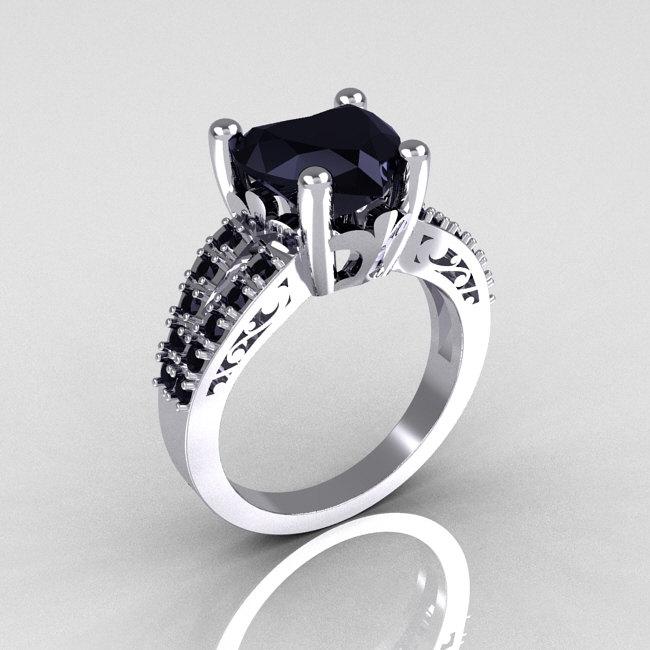 Modern French Bridal 18K White Gold 3 0 Carat Heart Black Diamond Solitaire E