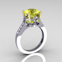 Classic 14K White Gold Two Tone 3.5 Carat Yellow and White Diamond Solitaire Wedding Ring R301-14KYWGDYD-1