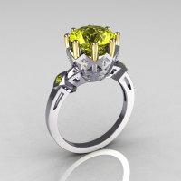 Modern Vintage 14K White Gold Two Tone 3.0 Carat Yellow Diamond Princess Diamond Solitaire Wedding Ring R303-14WYGDYD-1