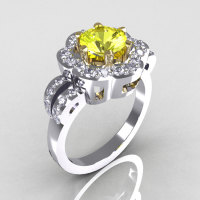Classic 14K White Gold Two Tone 1.0 Carat Yellow and White Diamond Pave 2011 Trend Engagement Ring R108-14KWGTTDYD-1