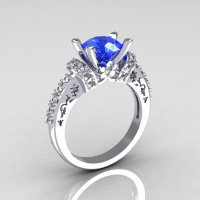 Modern Armenian Classic 14K White Gold 1.5 Carat Blue Sapphire Solitaire Wedding Ring R137-14WGDBS-1